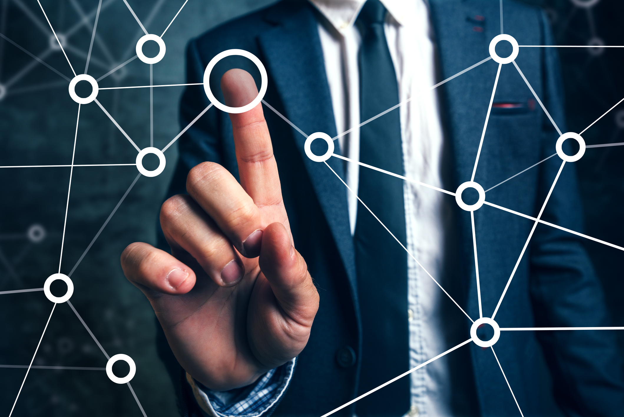 Businessman connecting the dots to access market share for any broker or carrier