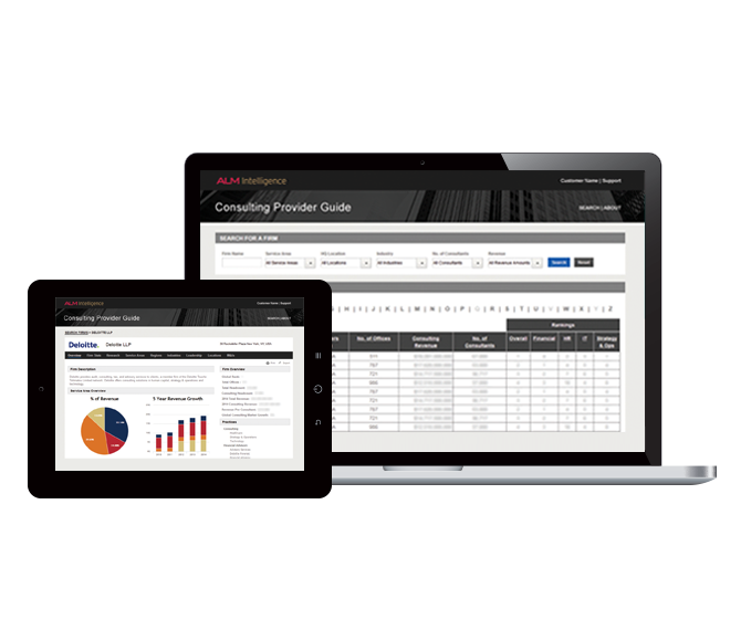 Consulting Provider guide tablet and desktop dashboard